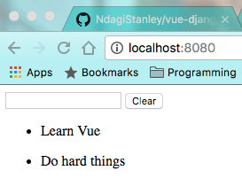 Our Todo List in the browser